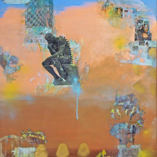 The Thinker | 2pc Mixed Media Canvas Set_left | Maya Armony | All Things Malibu