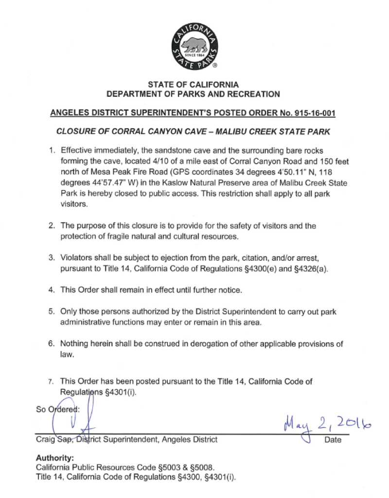 Corral Canyon Cave Closure Paper All Things Malibu